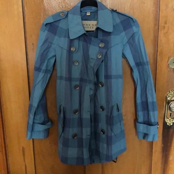 Burberry Jackets & Blazers - Burberry Brit Blue Plaid Rain Jacket size 4
